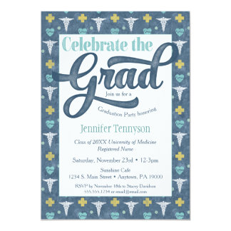 Nurse Doctor Graduation Invitation Blue LPN RN