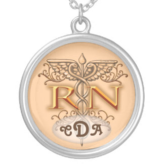 Nurse Fancy Copper RN Caduceus Silver Plated Necklace