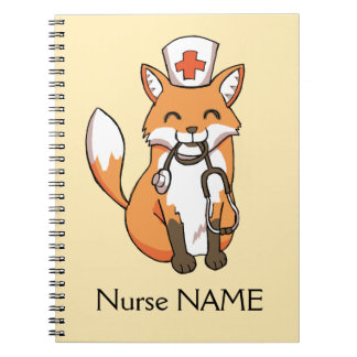Nurse Fox Drawing Cute Personalised Note Book