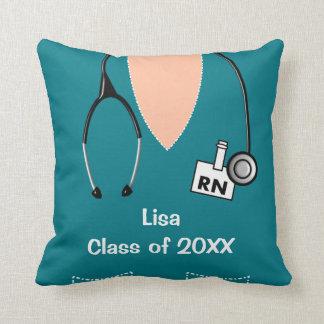 Nurse Graduation Scrub Top Teal Cushion