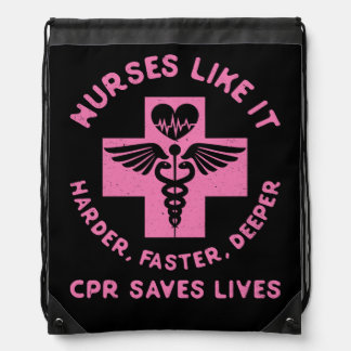 Nurse Humor - CPR  Save Lives - Funny Novelty Drawstring Bag