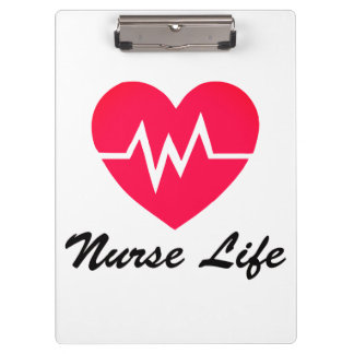 Nurse Life Red EKG Heart Clipboard