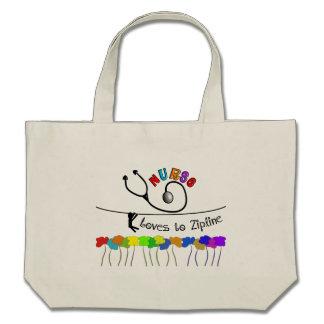 Nurse Loves to Zipline Gifts Canvas Bag