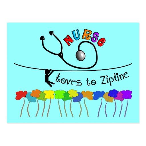 Nurse Loves to Zipline Gifts Post Cards