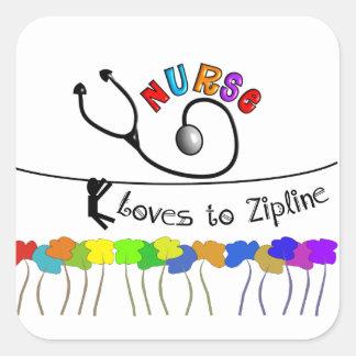 Nurse Loves to Zipline Gifts Square Sticker