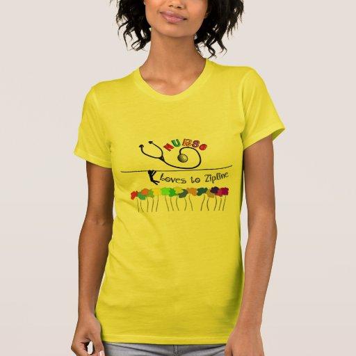 Nurse Loves to Zipline Gifts Tee Shirts