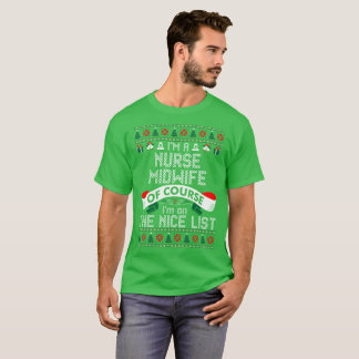 Nurse Midwife On Nice List Christmas Ugly Sweater