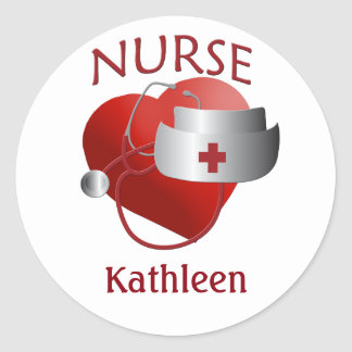Nurse Name Custom Nurses Heart Sticker