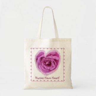 NURSE Nurses Have Heart PINK Rose Heart & Lace Tote Bag