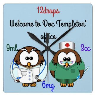nurse owl & doc owl square wall clock