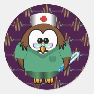 nurse owl round sticker