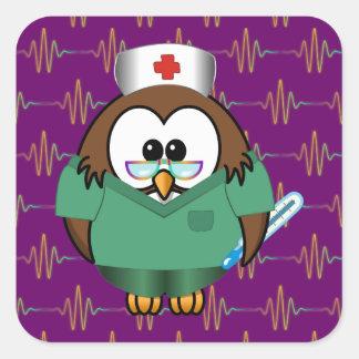nurse owl square sticker