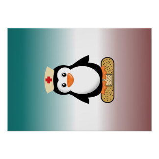 Nurse Penguin (w/bandaid) Poster
