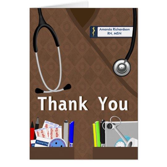 Nurse Pockets Thank You Brown Scrubs Card