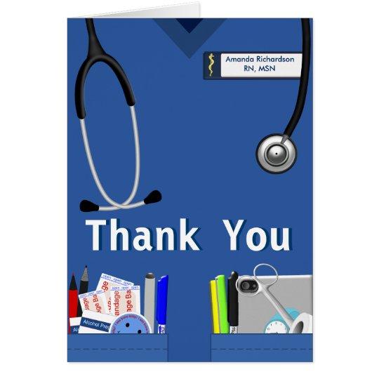 Nurse Pockets Thank You In Dark Blue Card