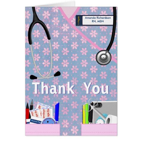 Nurse Pockets Thank You - Pinks Card