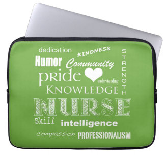 Nurse Pride-Attributes/Lime Green-13 inch Computer Sleeve
