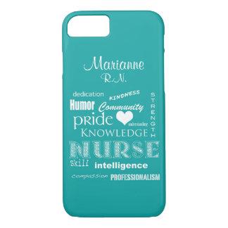 Nurse Pride-Attributes+Name /Aqua iPhone 8/7 Case