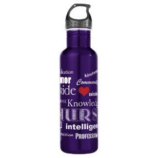 Nurse Pride-Attributes/White Text+Red Heart 710 Ml Water Bottle