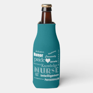 Nurse Pride-Text Design+White Heart Bottle Cooler