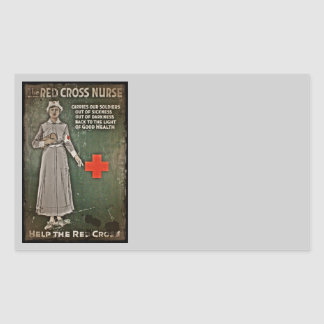 Nurse Requesting Donations WWI Rectangle Sticker