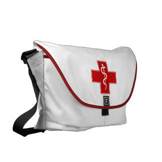 Nurse Rod of Asclepius Messenger Bags