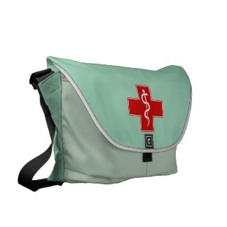 Nurse Rod of Asclepius Scrubs Green Courier Bag