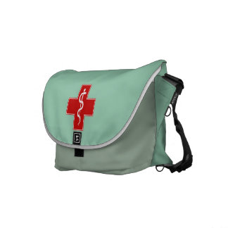 Nurse Rod of Asclepius Scrubs Green Commuter Bags