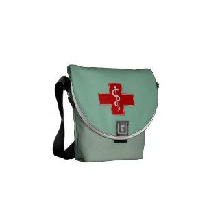 Nurse Rod of Asclepius Scrubs Green Messenger Bags