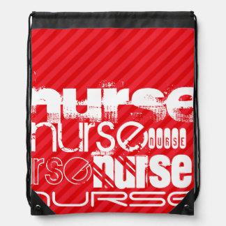 Nurse; Scarlet Red Stripes Drawstring Bag