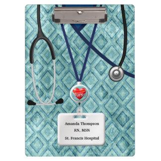 Nurse Scrubs In Teal Diamond Pattern Clipboard