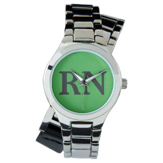 Nurse silver and green wristwatch