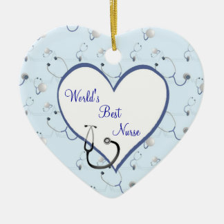 Nurse Stethoscope Christmas Heart Ornament