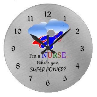 Nurse Superhero Humor Large Clock