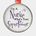 Nurse Superpower Silver-Colored Round Decoration