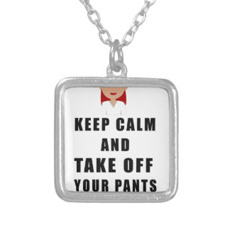 nurse, take off your pants silver plated necklace