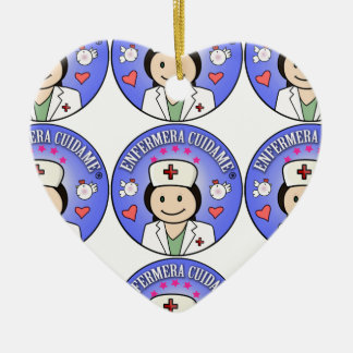Nurse Takes care of to me Brown and Blue Ceramic Heart Decoration