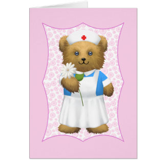 Nurse Teddy Bear - Blank Card