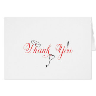 Nurse Thank You Note Red Hand Calligraphy RN Note Card