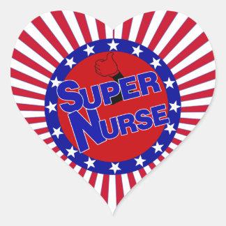 NURSE THUMBS UP SUPER NURSE PATRIOTIC HEART STICKER