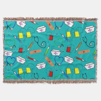 Nurse Tools Woven Blanket Blue