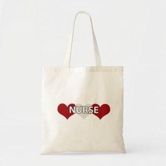 Nurse Triple Heart Budget Tote Bag