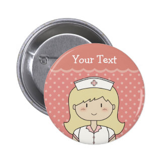 Nurse with blonde hair 6 cm round badge