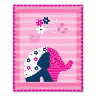Nursery Art Pink Elephant Poster Photo Print