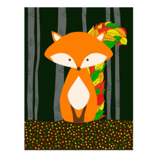 Nursery Automn Fox Design Postcard