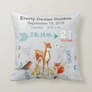 Nursery Baby Birth Stat Fox Arrow Pattern Cushion
