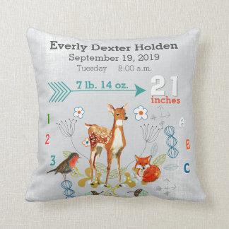 Nursery Baby Birth Stat Fox Arrow Pattern Throw Cushion