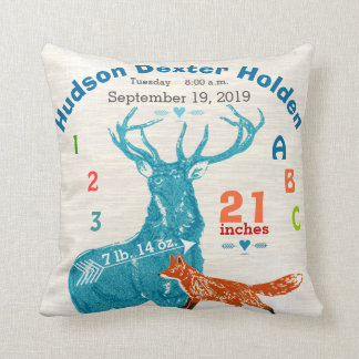 Nursery Baby Boy Birth Stat Fox Deer Arrow Throw Pillow