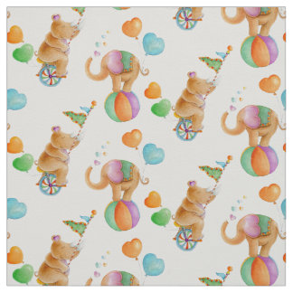 Nursery circus animal watercolor art fabric