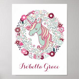 Nursery Decor Adorable Unicorn Art Poster